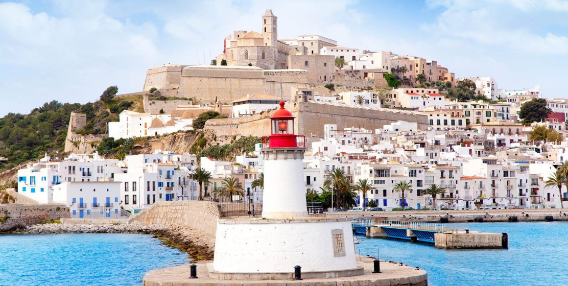 Eivissa ibiza town from red lighthouse red beacon in Balearic Islands